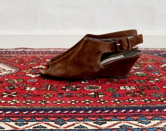 1970s brown suede wedges - size 37,5 Euro