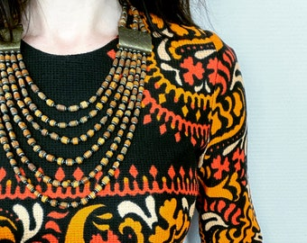 1970s multistrand brass & wood bead necklace