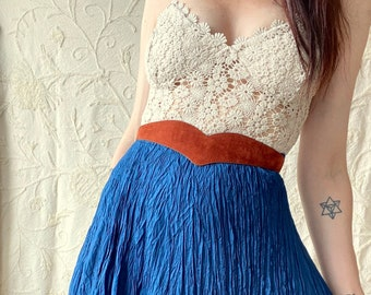1990s teal silk crinkle skirt- Size M