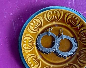 1970s boho tribal hoop earrings