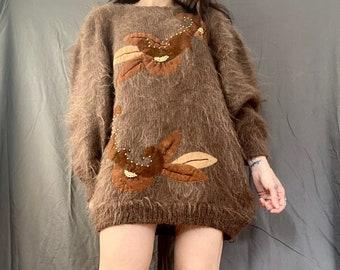 1980s Velvet leaf appliqué mohair knit sweater - Size M