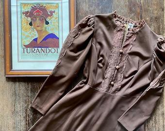 1960s brown lace dress - Size M