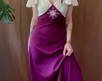 1970s Purple and white maxi dress - Size S