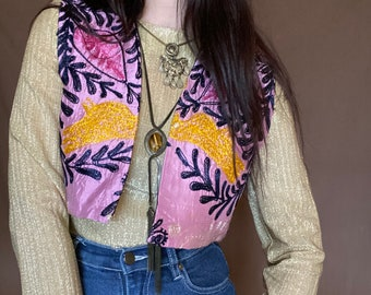 1970s embroidered artisan vest - Size S M