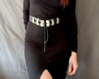 1970s western black leather front tie belt  - Size S/L