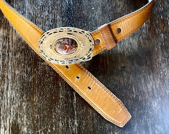 1970s Western belt with stone insert - Size S/L