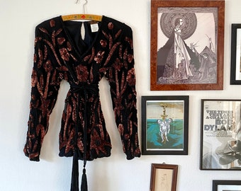 1970s sequined & beaded silk blouse - Size S
