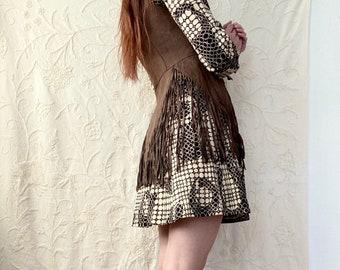 1960s brown & beige mod mini dress - Size S