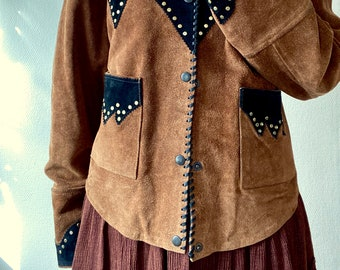 1990s two toned suede western jacket - Size L