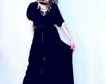 1930s black silk velvet maxi dress - Size XS-S