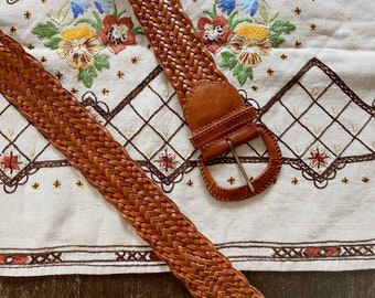 1970s wide braided leather belt - Onesize