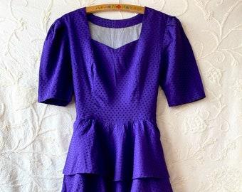 1980s Purple jacquard prom dress - Size S