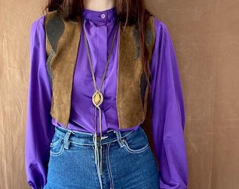 1970s purple blouse - Size XS S