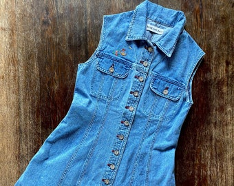 1990s button down denim dress  - Size M