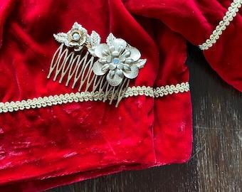 1980s golden metallic hair comb