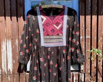 1980s floral embroidered Afghan mini dress - Size S/M