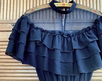 1970s Black chiffon sheer dress - Size XS/S