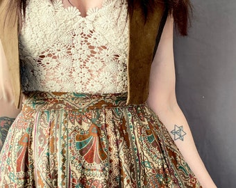 1970s paisley floral peasant skirt - Size XS