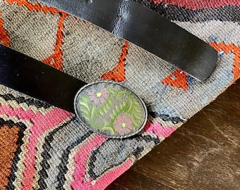 1970s western leather belt with floral buckle - Size S - L