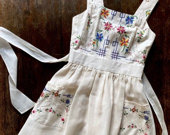 1970s romantic embroidered cotton dress - Size XS