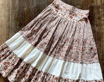 1970s Gunne Sax inspired liberty print prairie skirt - Size XXS/XS