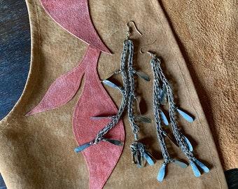 1970s long dangle artisan statement earrings