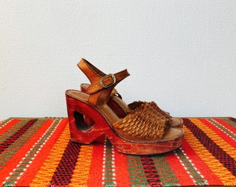 1970s braided brown leather wedges - size 37 Euro / 6 B US