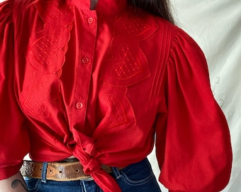 1970s red puffy sleeve peasant blouse - Size S M
