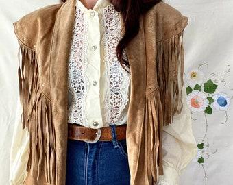 1980s fringed tan suede vest - Size S - M