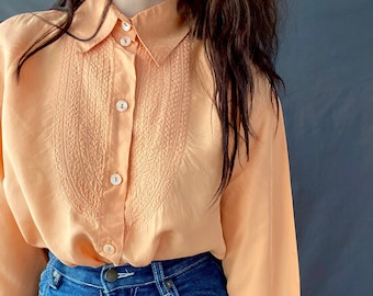 1980s Betty Barclay apricot embroidered silk blouse - Size M/L