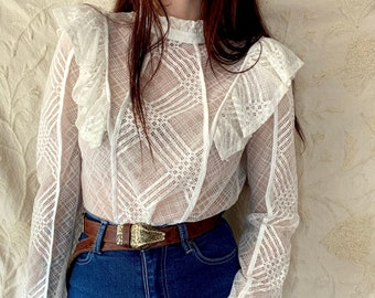 1970s white Edwardian inspired lace blouse - Size S - M