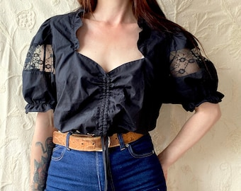 1970s cropped frilled black peasant blouse with lace inserts- Size L/XL