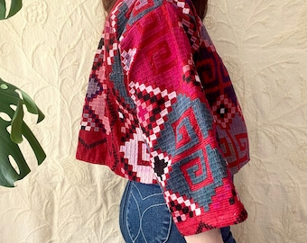 1970s Red corduroy embroidered jacket - Size S-M