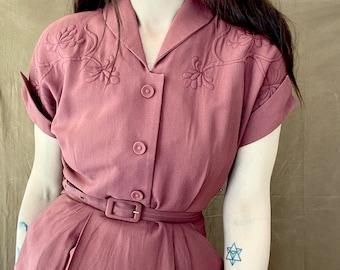1950s dusty pink rockabilly dress. / Size XS - S