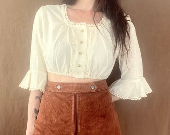 1970s cropped creamy white peasant blouse - Size XS- S