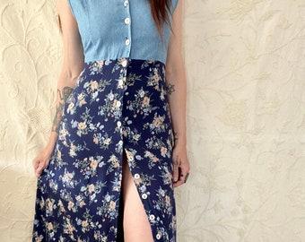 1990s button down denim & floral rayon dress  - Size M/L