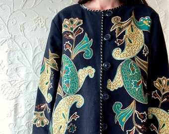 1970s appliqué embroidered folklore jacket - Size M/L