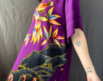 1990s purple bird print kaftan dress - Size S/L