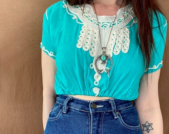 1970s Turquoise green ribbon embroidered Moroccan crop top - Size XS