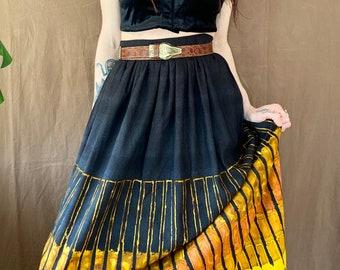 1970s black batik maxi skirt - Size S
