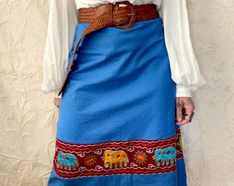 1970s blue India cotton embroidered skirt- Size XS/S
