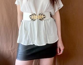 1980s white leather statement belt - Size S-L