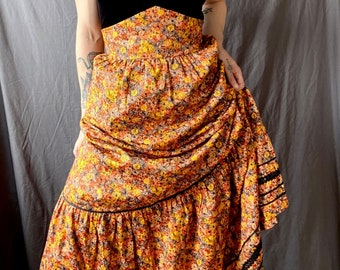 1970s floral peasant skirt - Size M
