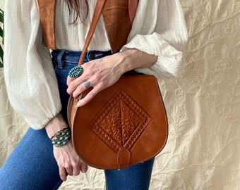 1970s tooled leather satchel bag.