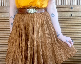 1990s golden brown Indian gauze crepe skirt- One size