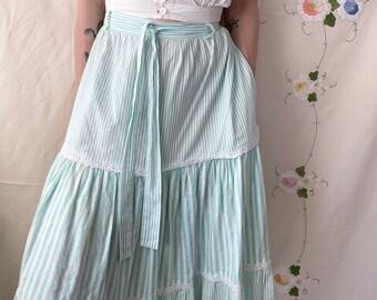 1980s pastel green candy striped prairie skirt - Size L XL