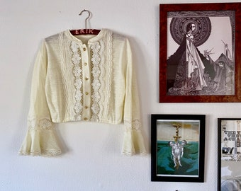 1970s cropped lace blouse - Size XS