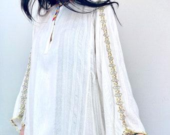 1970s embellished Indian cotton gauze dress - Size L