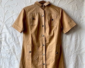 1950s button down amber denim dress  - Size M/L