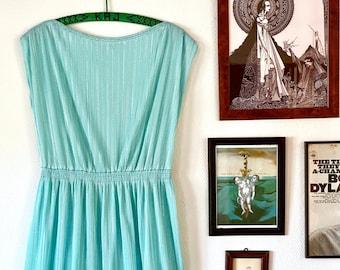 1970s turquoise metallic goddess dress - Size M L